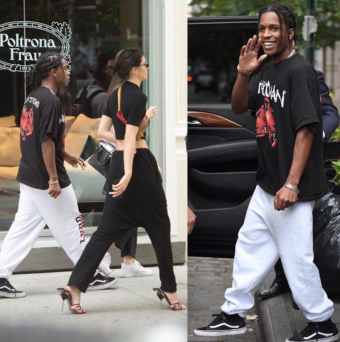 SPOTTED: A$AP Rocky In Wu-Tang Clan T-Shirt, Last Year Being Broke Sweatpants And Vans Sneakers