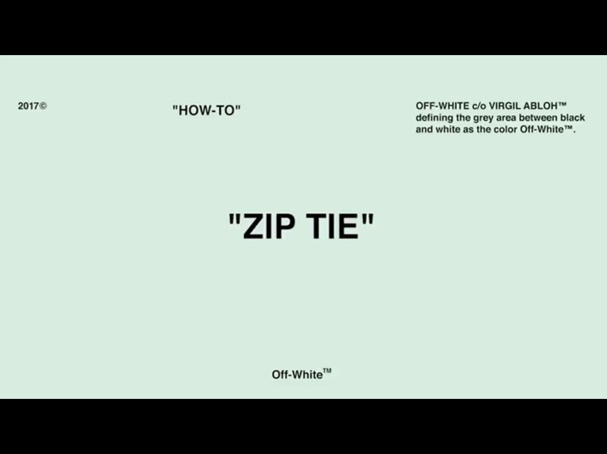 """Off-White Share The """"Zip Tie How-To"""" On Instagram"""