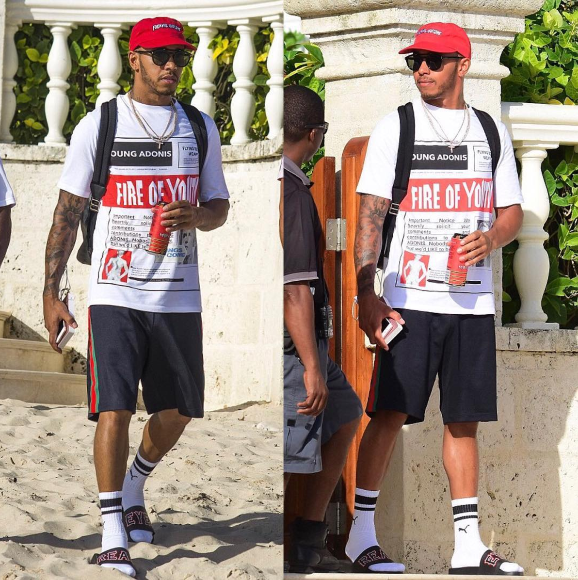 SPOTTED: Lewis Hamilton In Fucking Awesome Cap, Loewe T-Shirt, Gucci Shorts And Givenchy Slides