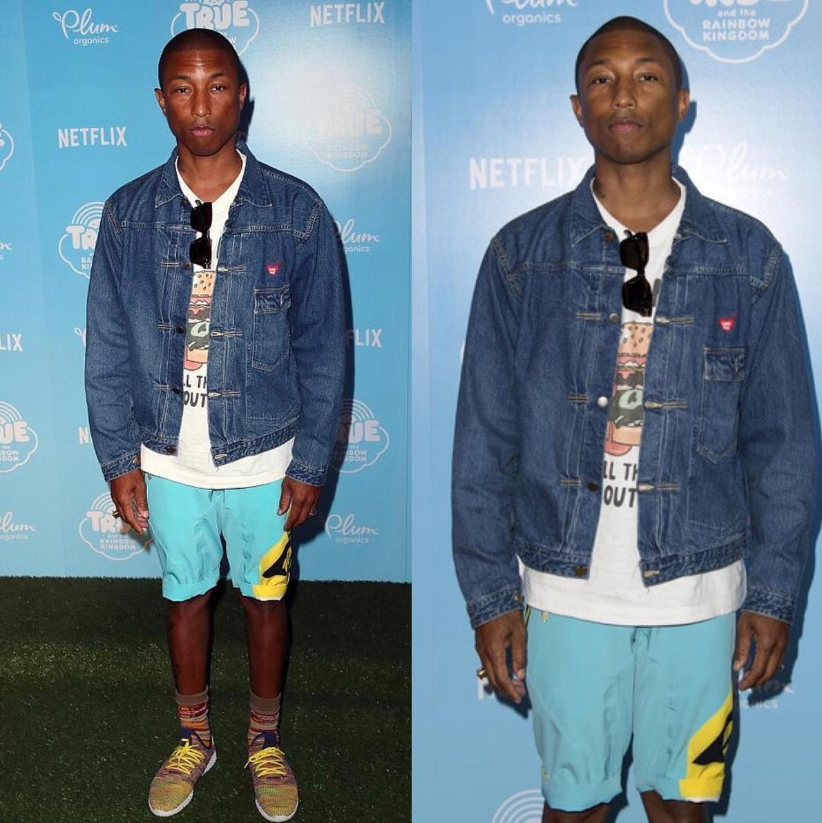 SPOTTED: Pharrell Williams In Human Made Denim Jacket And Pharrell Williams x Adidas Originals Tennis Hu Sneakers