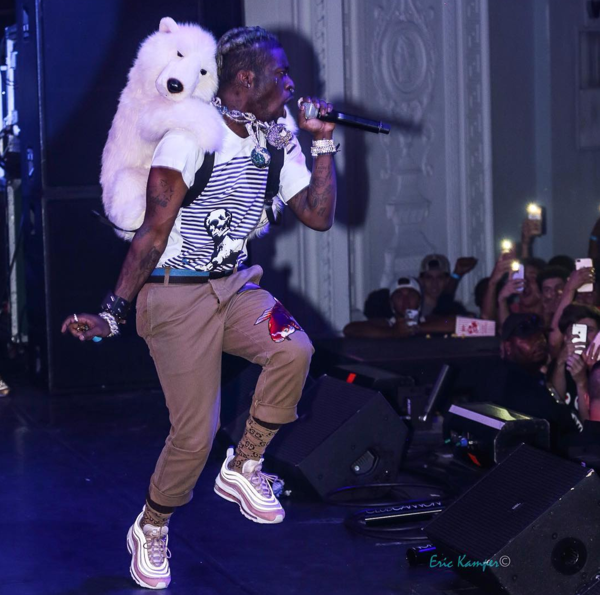 SPOTTED: Lil Uzi Vert In Chrome Hearts Official T-Shirt, Gucci Socks And Nike Air Max 97 Sneakers