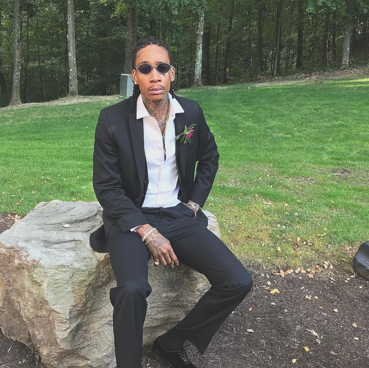 SPOTTED: Wiz Khalifa In A Black Suit