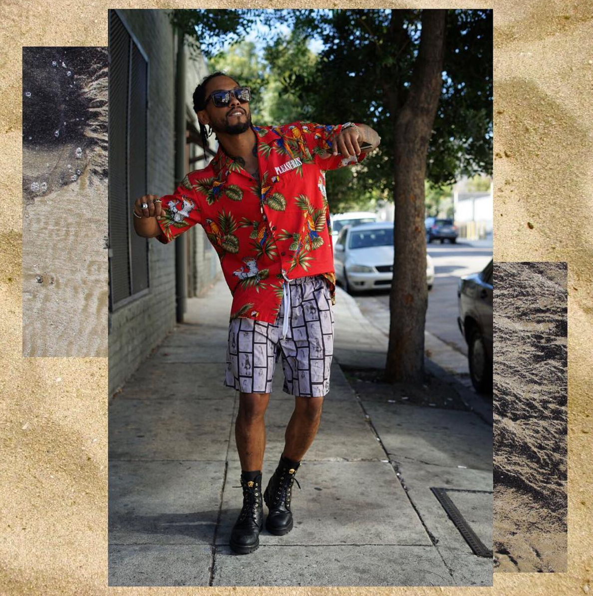 SPOTTED: Miguel In Pleasures Shirt, Stampd Shorts And Versace Boots