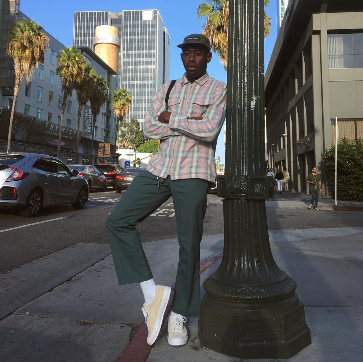 SPOTTED: Tyler, The Creator In Supreme Cap, Green Pants And Converse One Star Sneakers