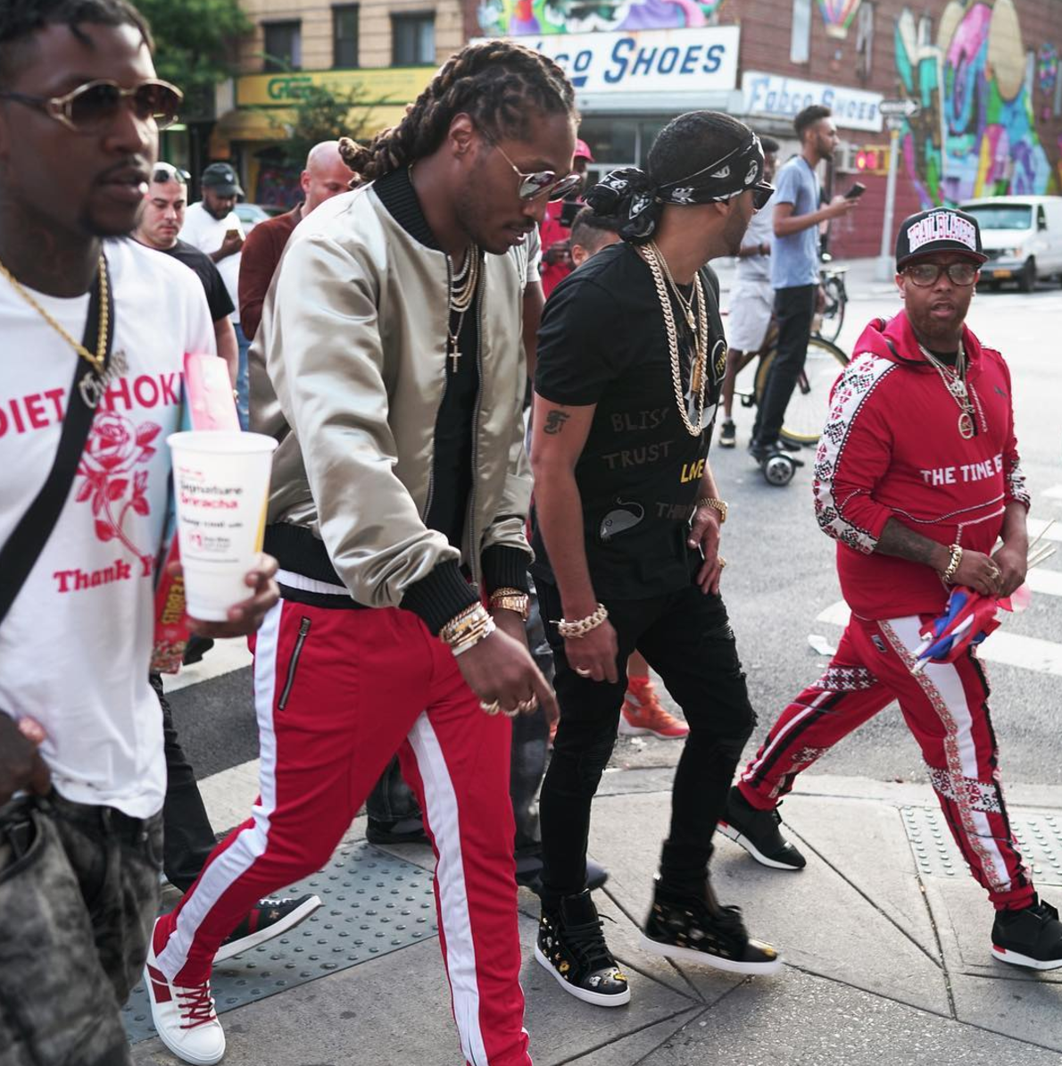 SPOTTED: Future In Palm Angels Jacket, Fear Of God Trackpants And Amiri Sneakers