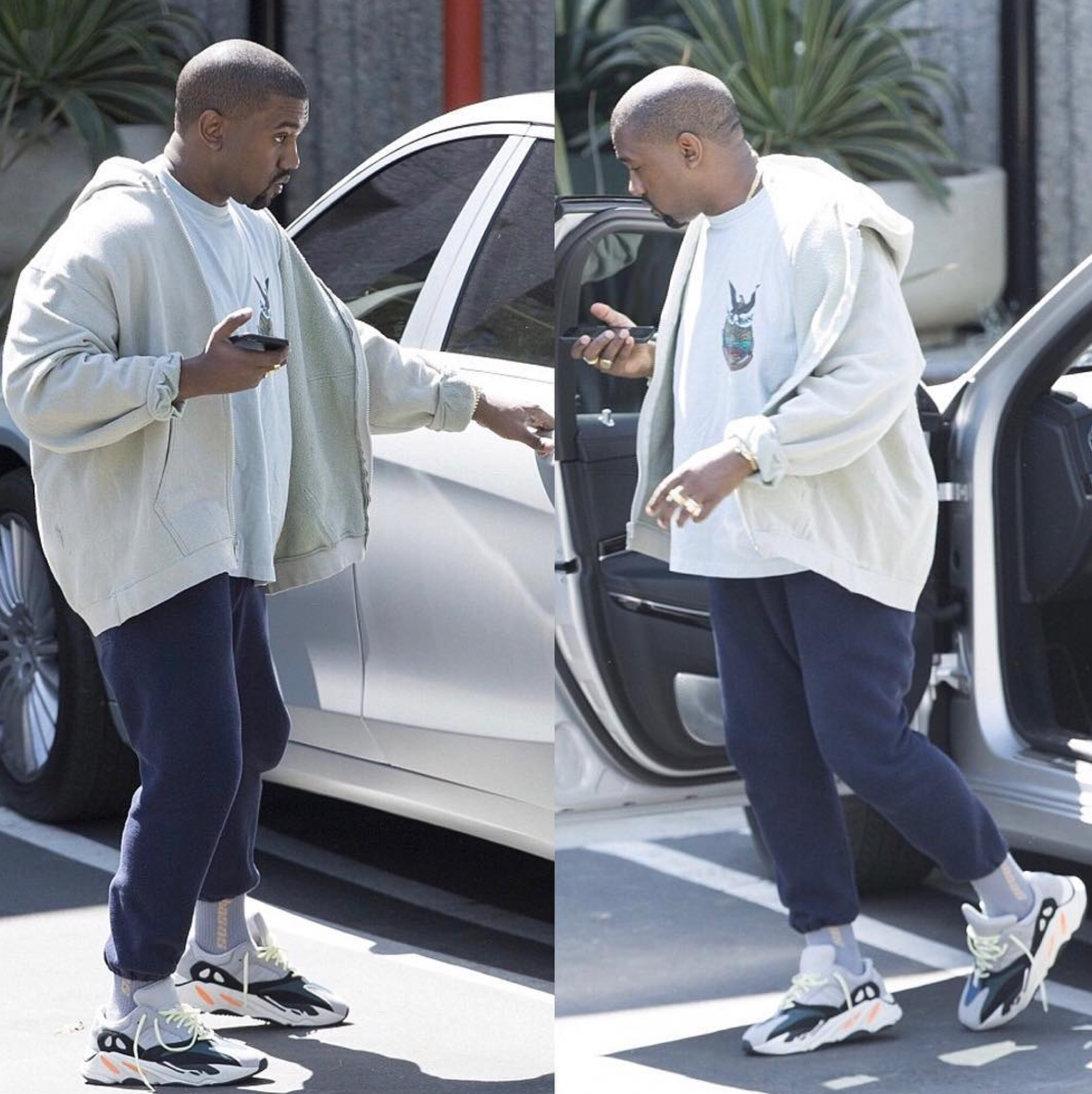 SPOTTED: Kanye West in adidas YEEZY Calabasas T-Shirt, Socks And Wave Runner 700 Sneakers