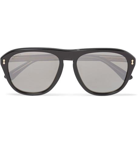 Gucci Aviator-Style Acetate Mirrored Sunglasses