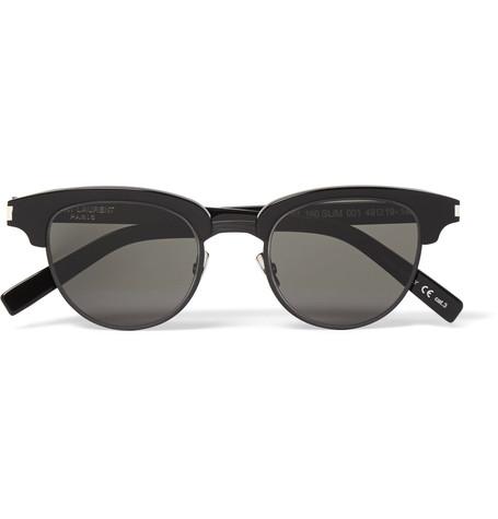 Saint Laurent D-Frame Acetate And Gunmetal-Tone Sunglasses
