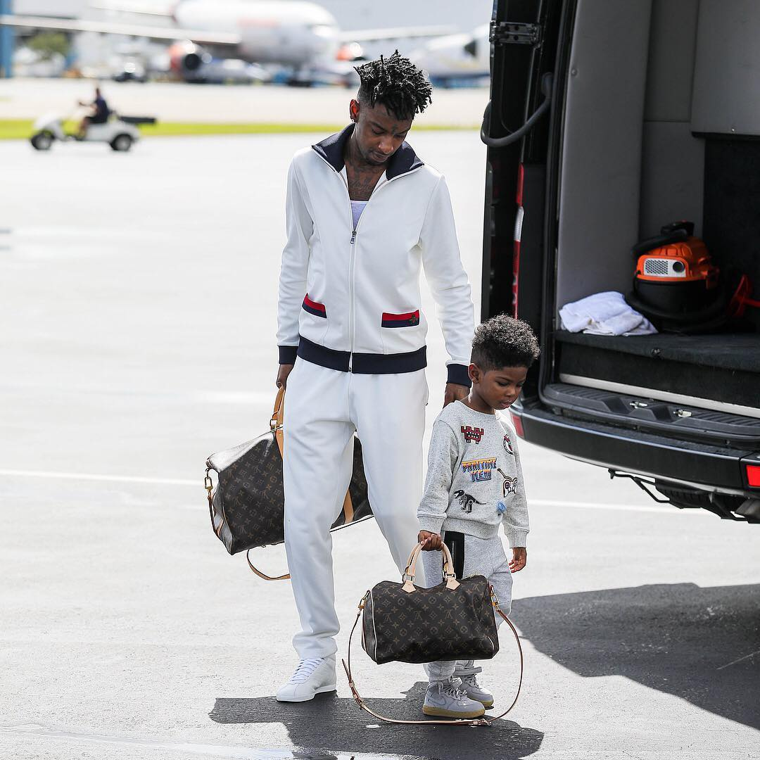 SPOTTED: 21 Savage and His Son Carrying Louis Vuitton Bags