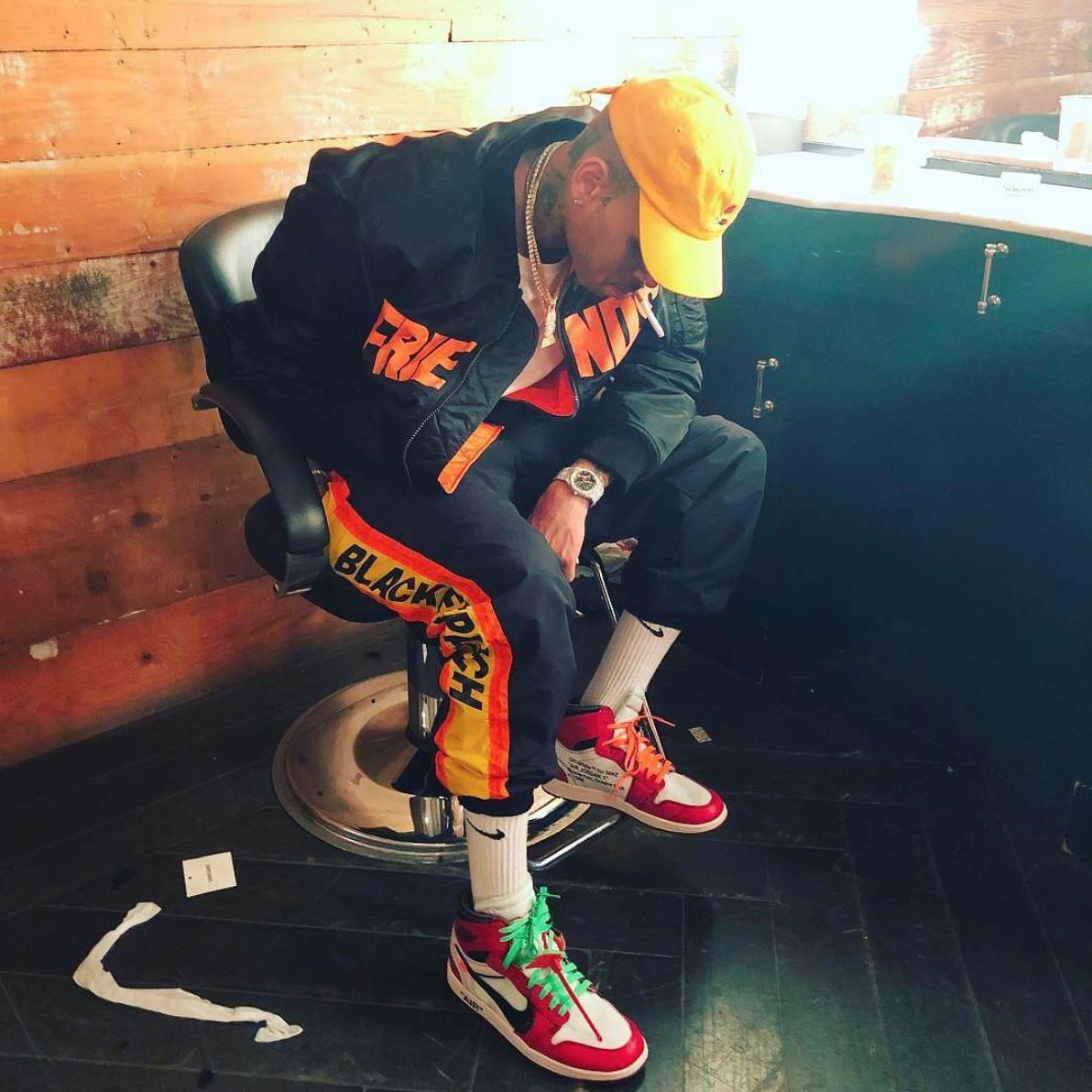 SPOTTED: Chris Brown Flexes In OFF-WHITE x Air Jordan 1