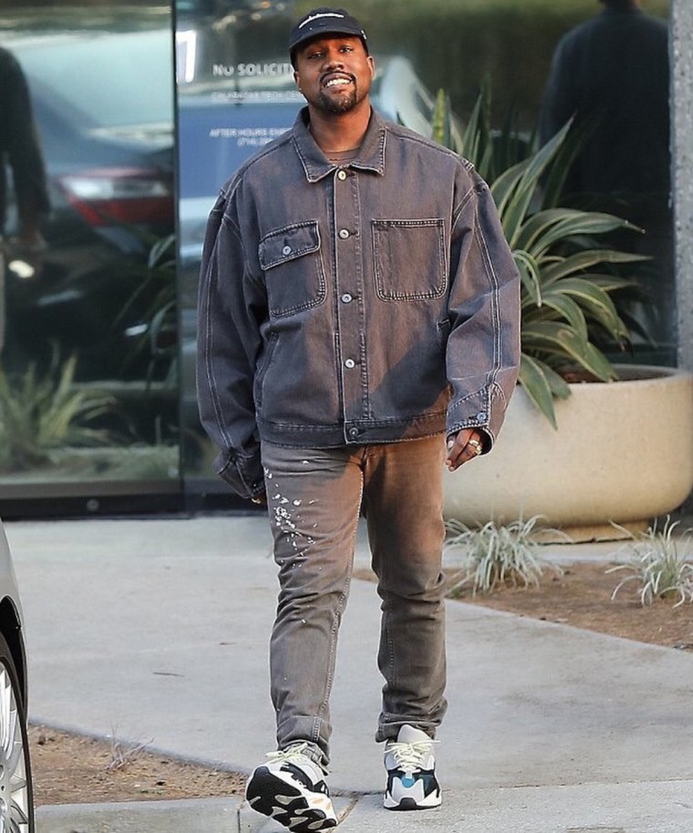 SPOTTED: Kanye West In Double Denim YEEZY & Helmut Lang Jeans
