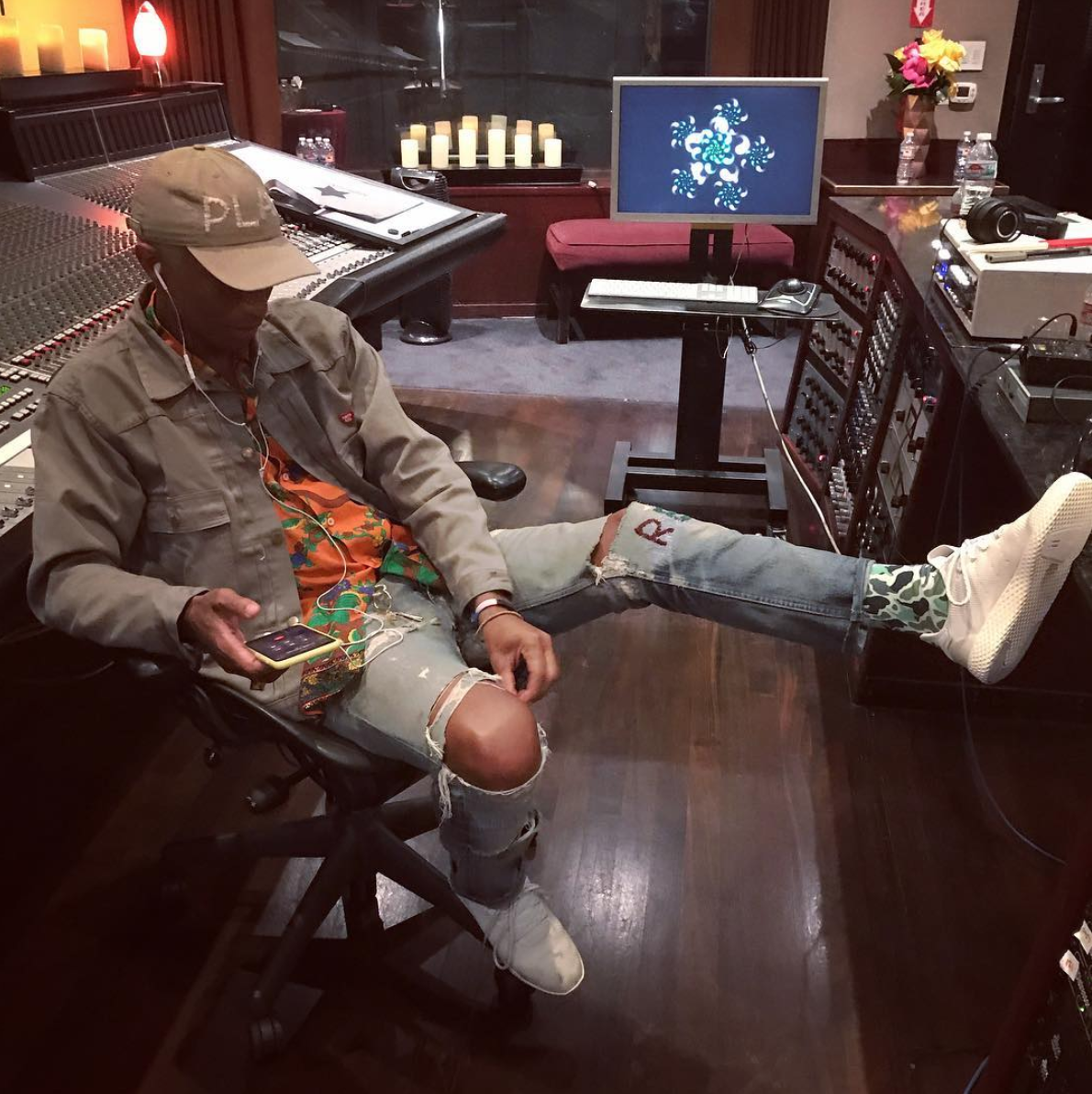 SPOTTED: Pharrell Williams In Human Made Jacket And adidas Tennis Hu Sneakers