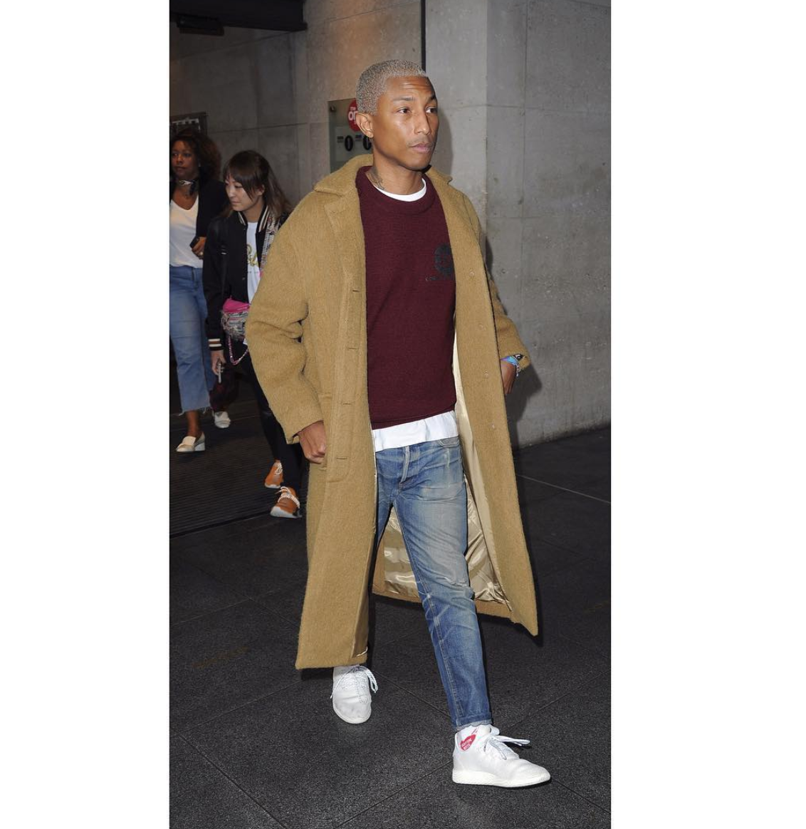 SPOTTED: Pharrell Williams In Long Coat, Human Made Socks And adidas Sneakers