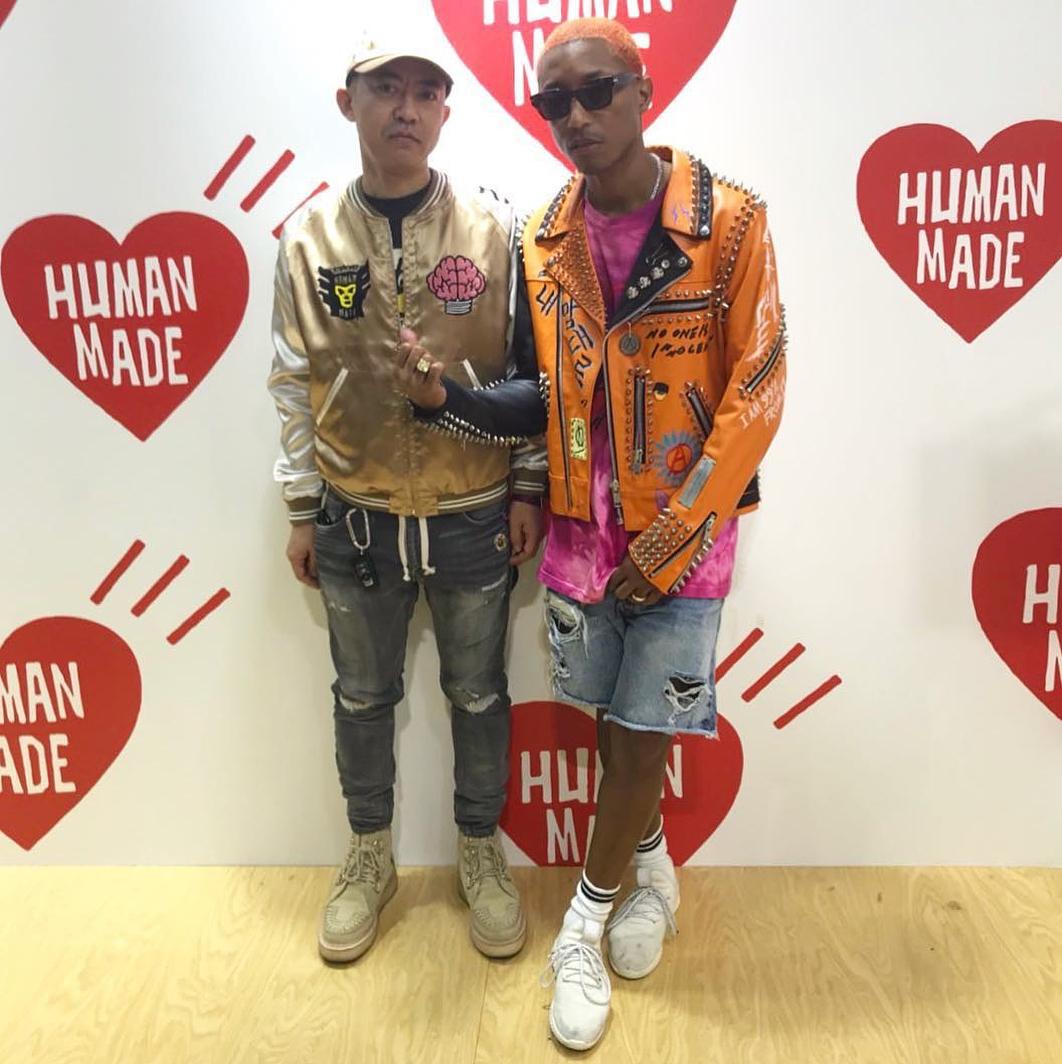 SPOTTED: Pharrell In 99percentis Jacket + Adidas x Pharrell Tennis Hu Sneakers