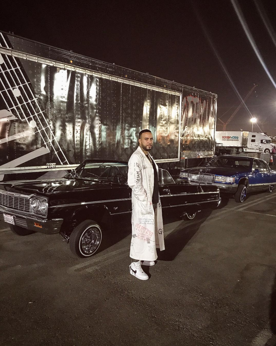 SPOTTED: French Montana in Raf Simons AW15 Lab Coat