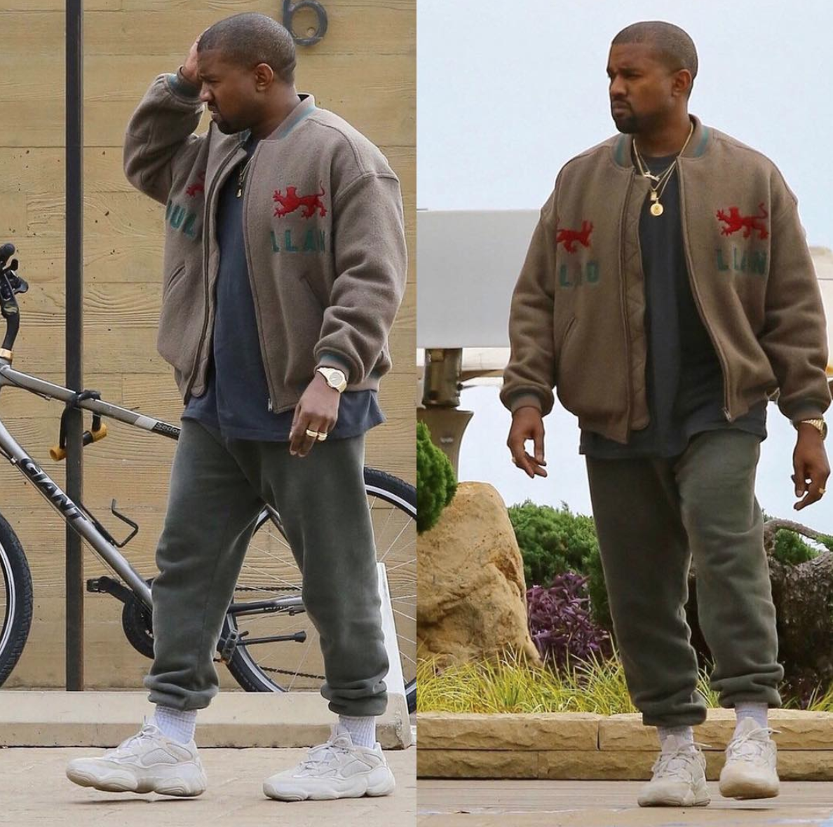 SPOTTED: Kayne West In YEEZY Season 5 Jacket And adidas YEEZY Mud Rat 500 Sneakers