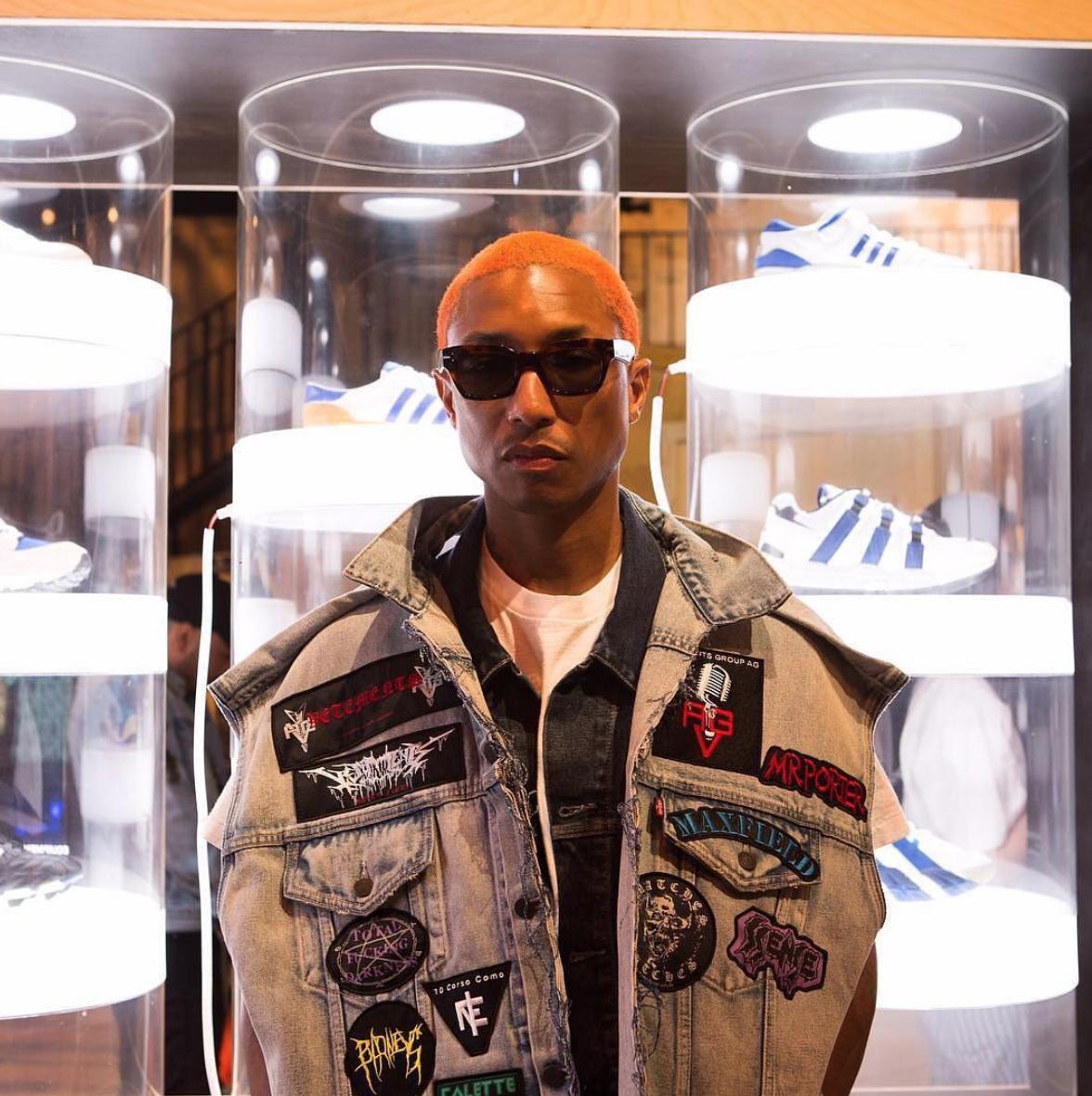 SPOTTED: Pharrell Williams In Vetements x Levi's Denim Waistcoat And Celine Sunglasses