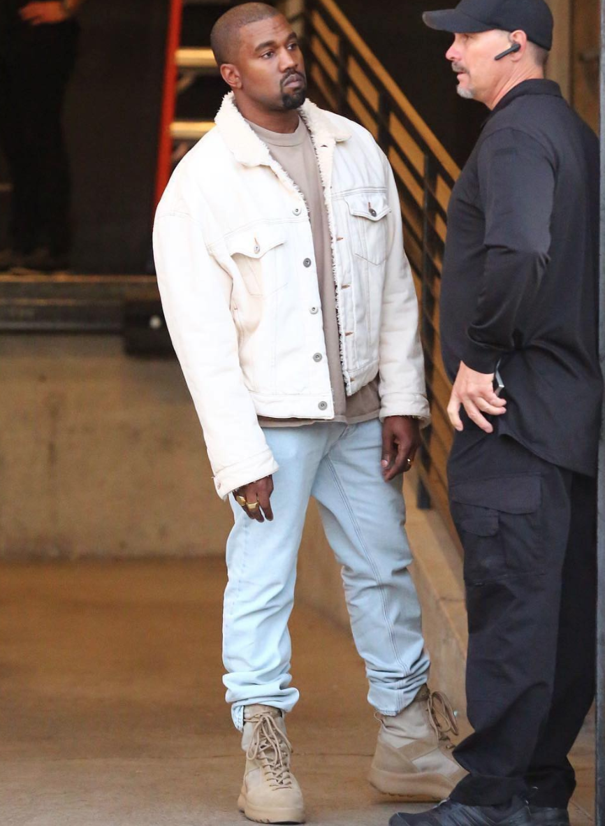 SPOTTED: Kanye West In Denim Jacket And YEEZY Season 3 Military Boots