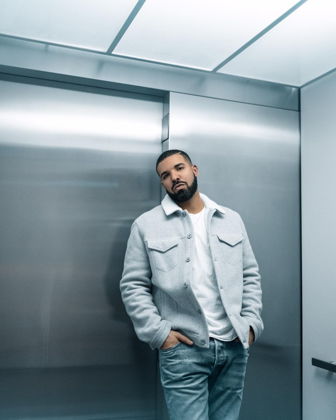 SPOTTED: Drake in Blue Winter Tones