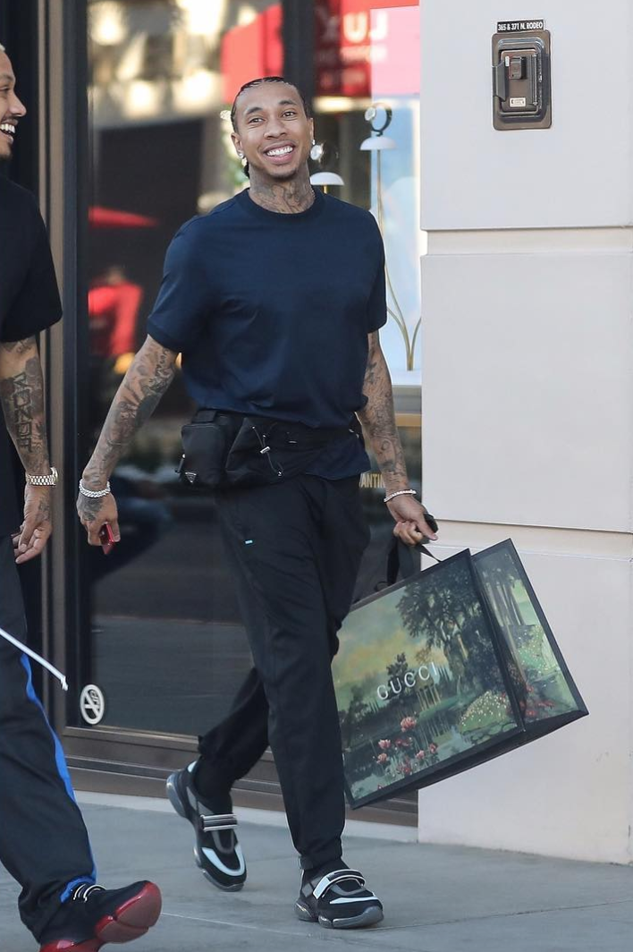 SPOTTED: Tyga In Beverly Hills Wearing Prada Bag + Sneakers