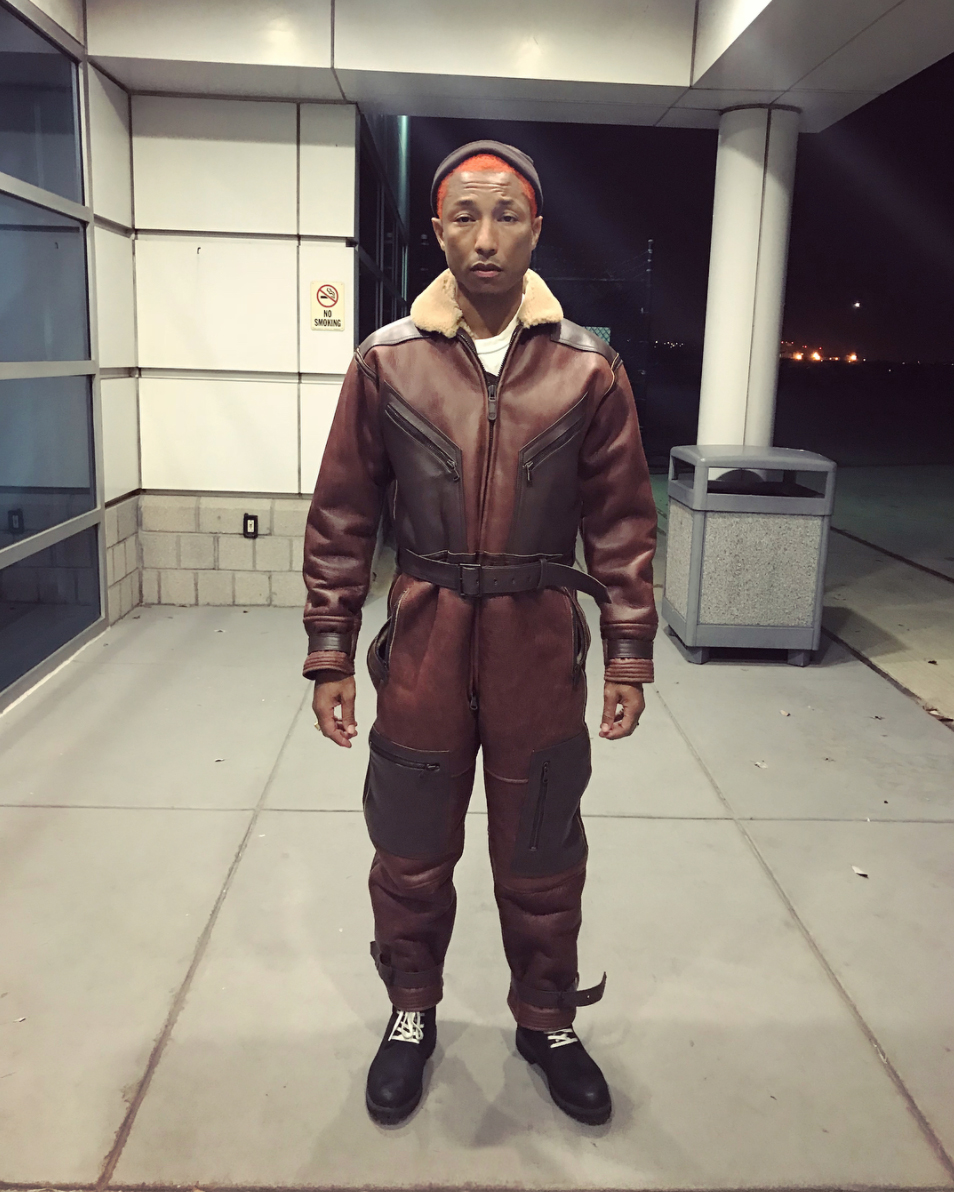 SPOTTED: Pharrell In BBC Shearling Flight Suit