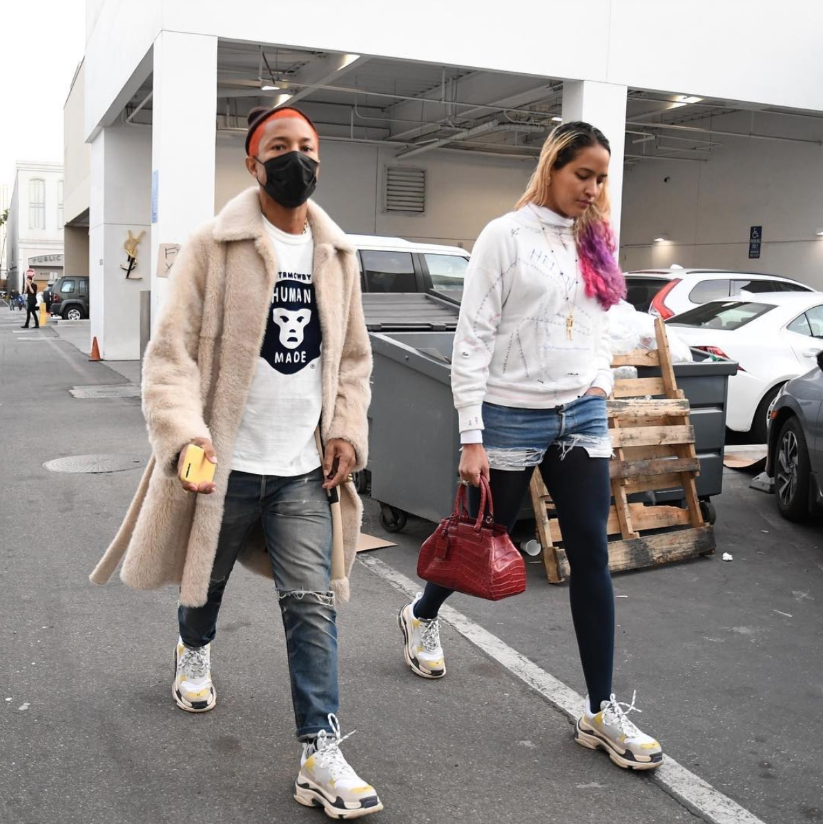 SPOTTED: Pharrell Williams Shopping In Celine Coat & Balenciaga Sneakers