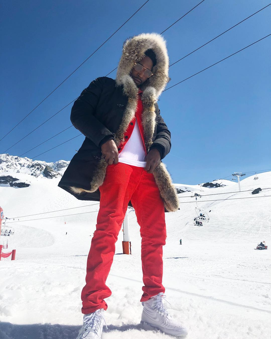 SPOTTED: Tinie Tempah Sporting Reds and Whites in the Alps
