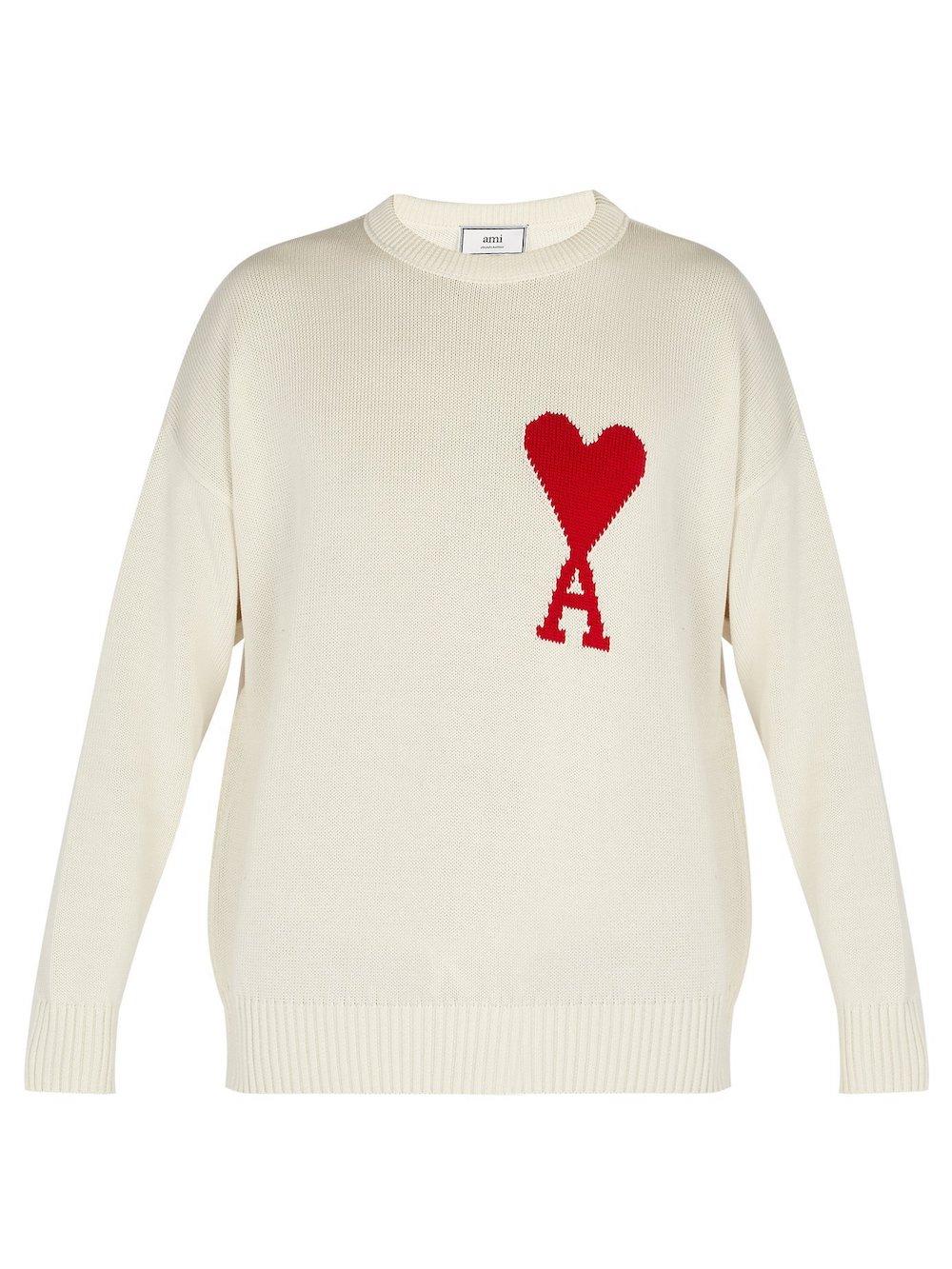 AMI Heart-intarsia cotton sweater