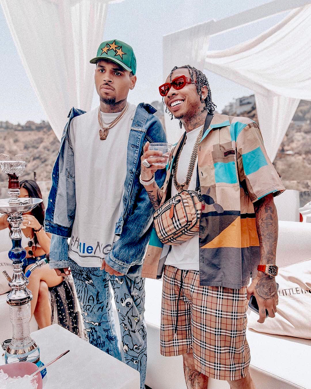 SPOTTED: Tyga and Chris Brown Sport Chanel, Burberry, Amiri and More
