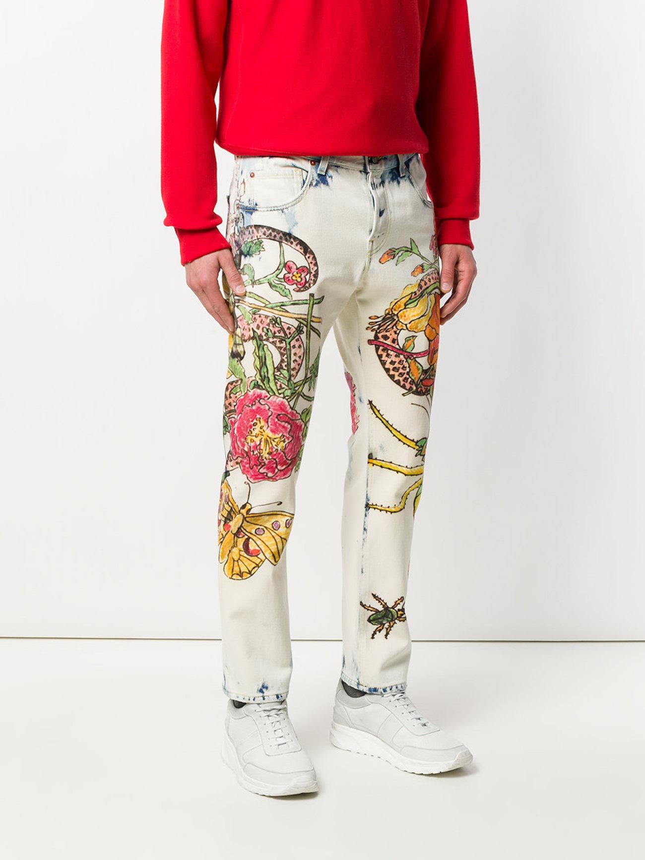 GUCCI floral-print jeans
