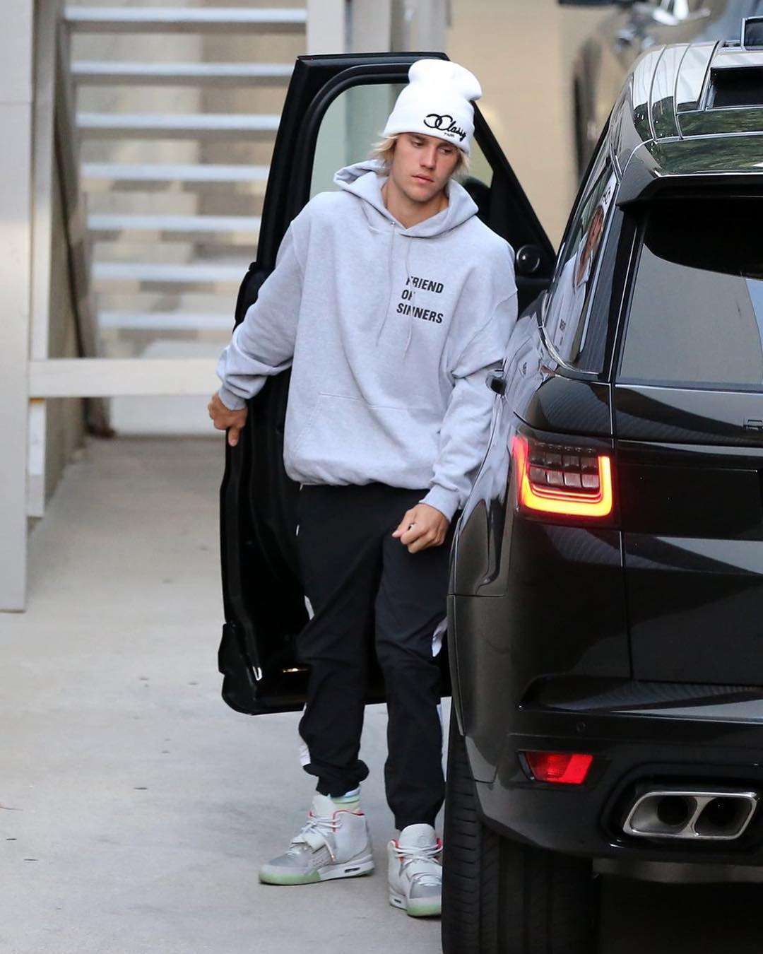 SPOTTED: Justin Bieber in Yeezys, adidas Originals, VOUS Church and CLASSY PARIS