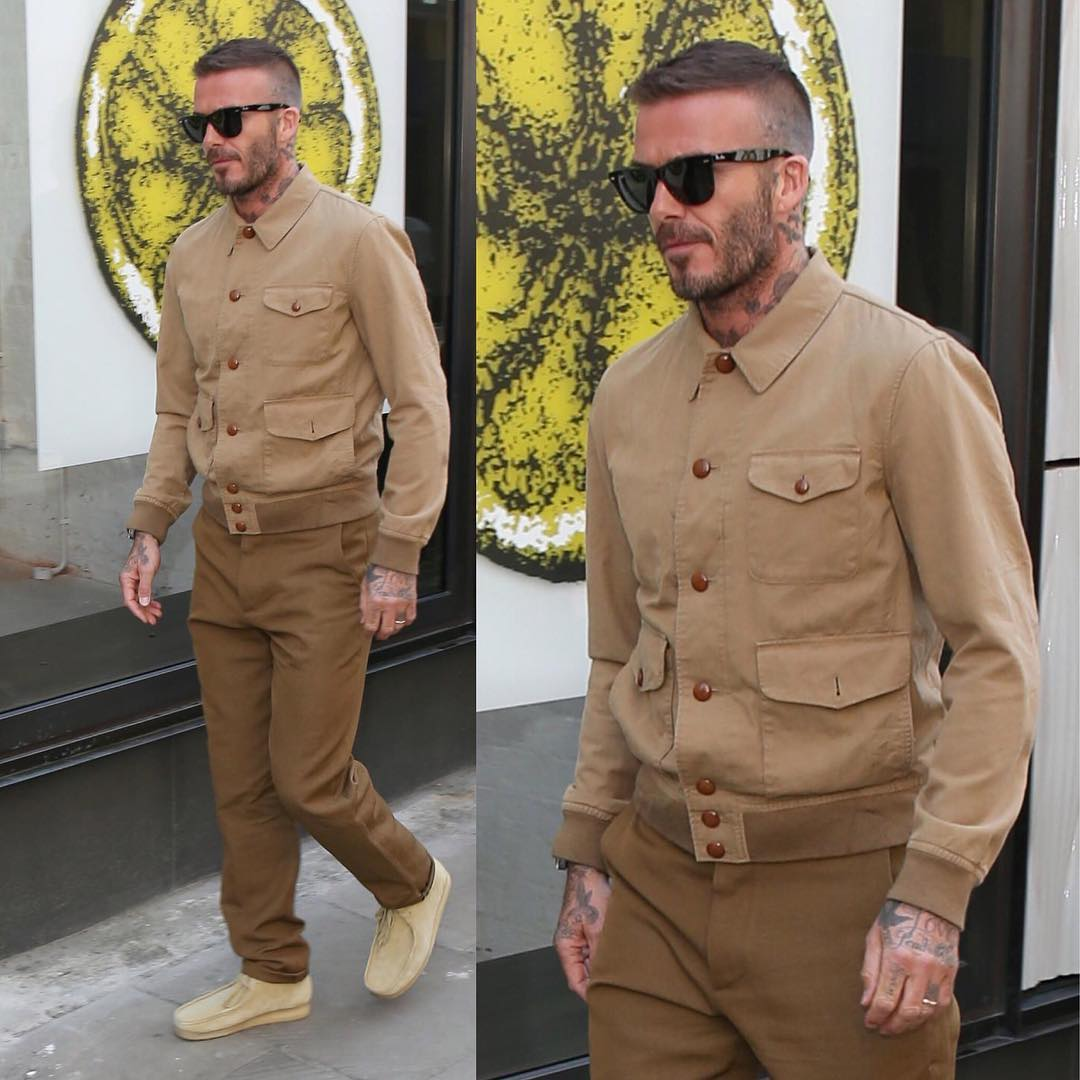 SPOTTED: David Beckham Rocks Kent and Curwen and Ray-Ban to LFWM