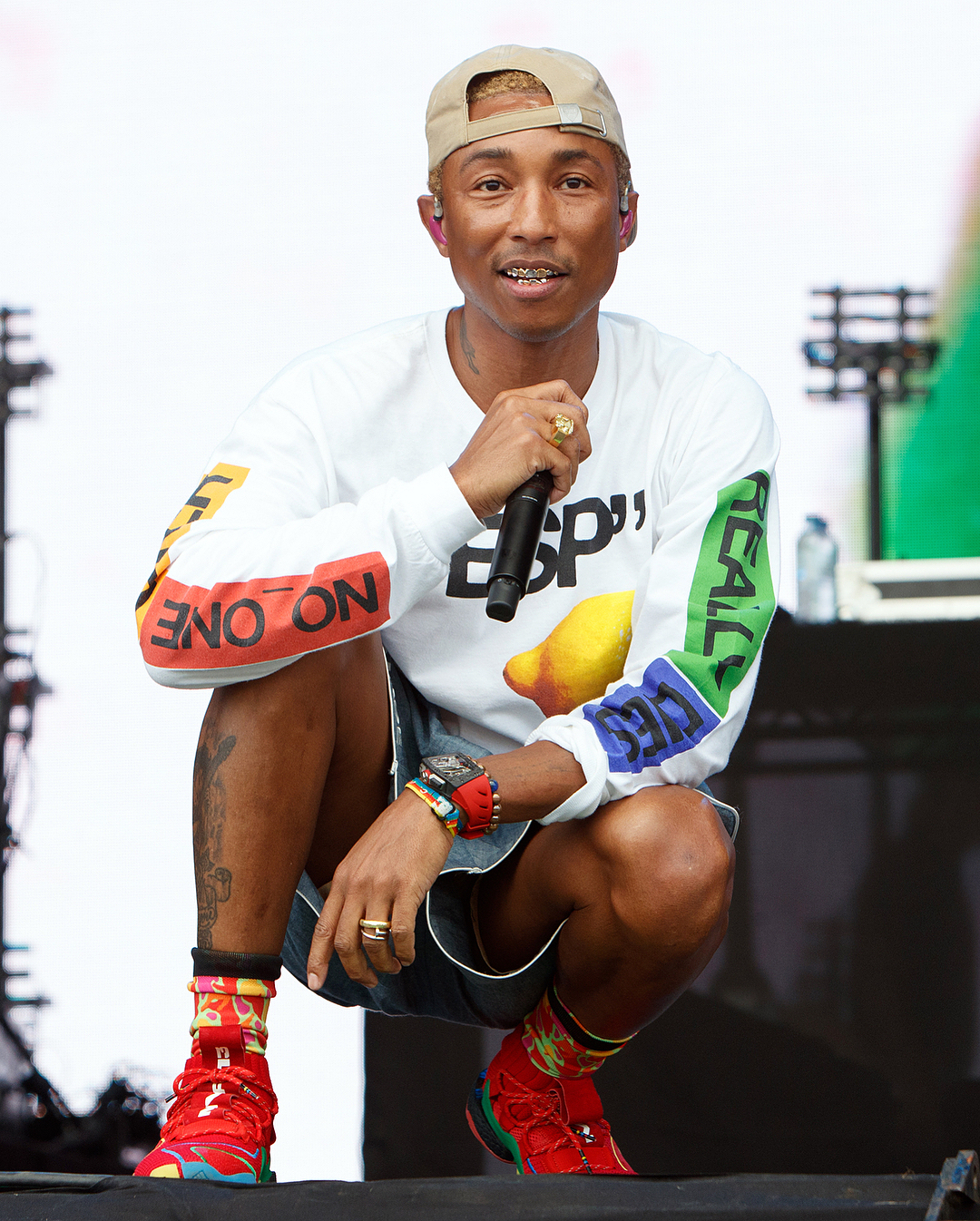 Pharrell Williams Performs at Lovebox in Human Made & adidas