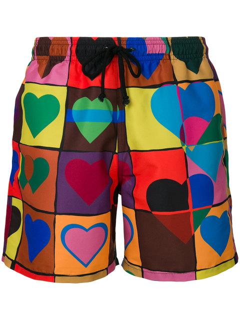 JW ANDERSON heart grid swim trunks