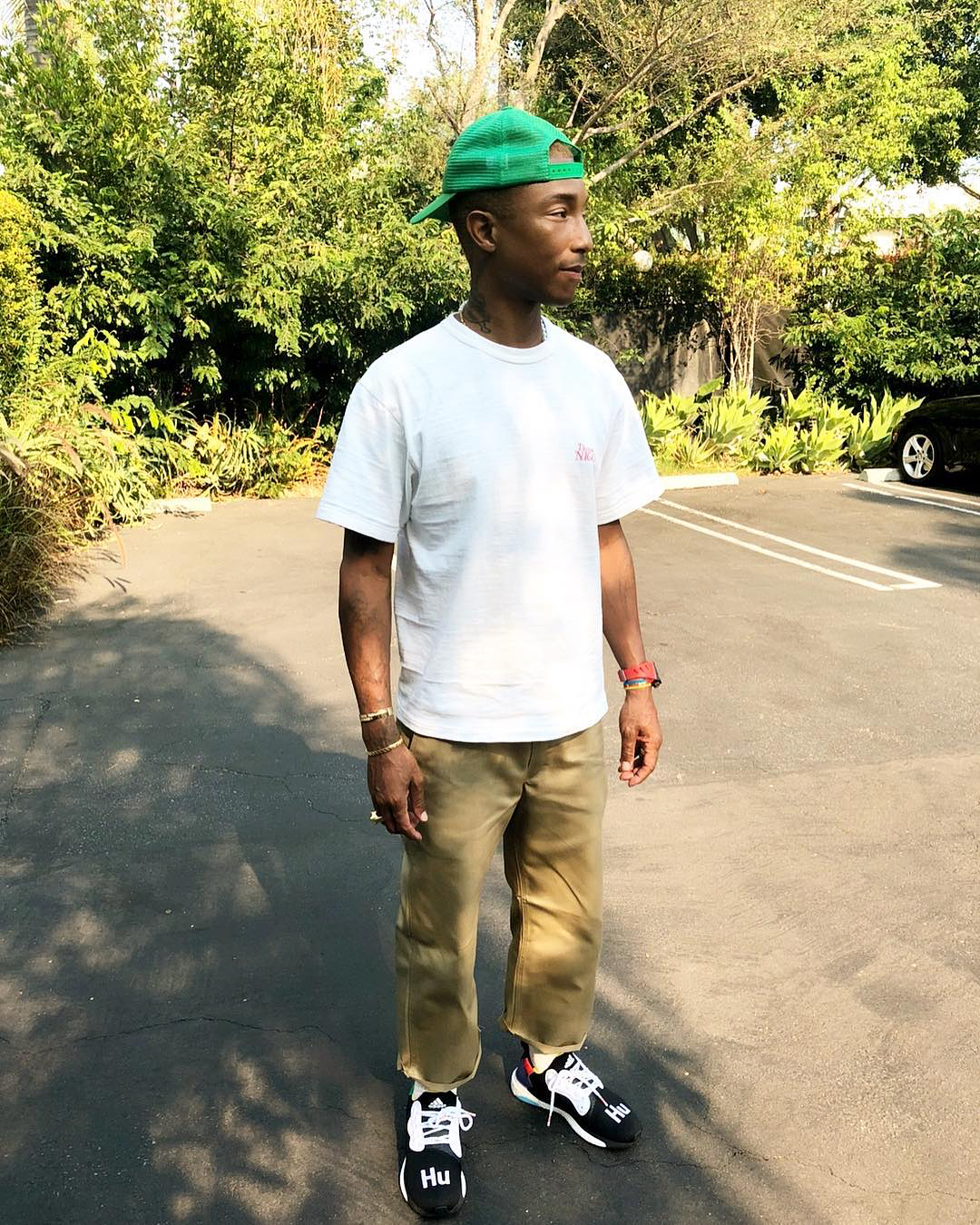 SPOTTED: Pharrell Wears Human Made, Verdy & His Adidas Hu Collab