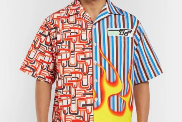 Prada Printed Poplin Bowling Flames Shirt Restock