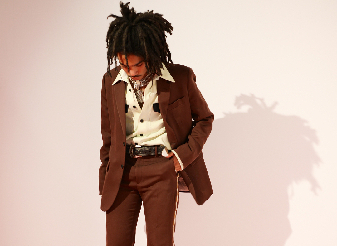 SPOTTED: Luka Sabbat Rocks Brown Suit with Mint-Hued Shirt