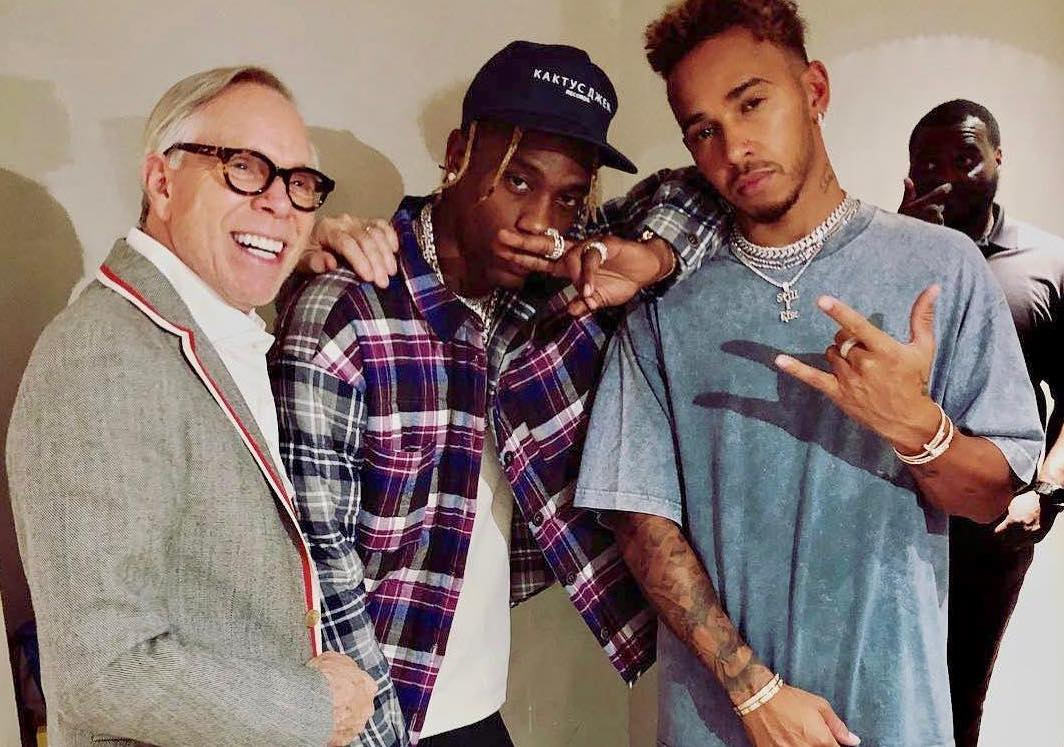 SPOTTED: Tommy Hilfiger Poses with Lewis Hamilton & Travis Scott