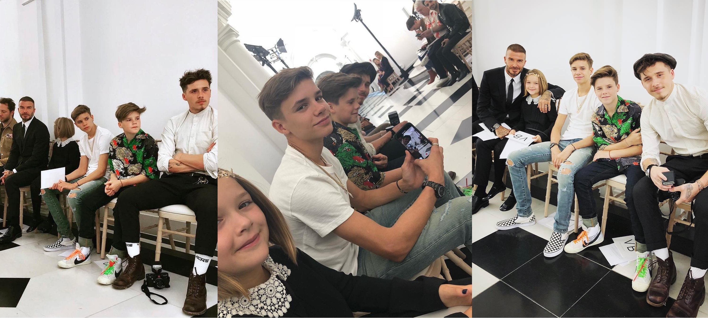 SPOTTED: The Beckham Family Supporting Victoria's First London Fashion Week Show