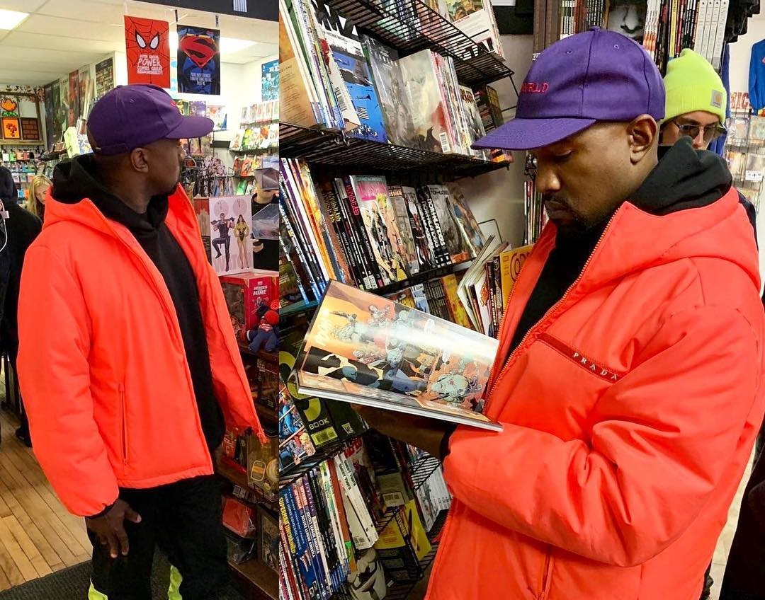 SPOTTED: Kanye Sports Gore-Tex, Prada and YEEZYs at the Comic Book Store