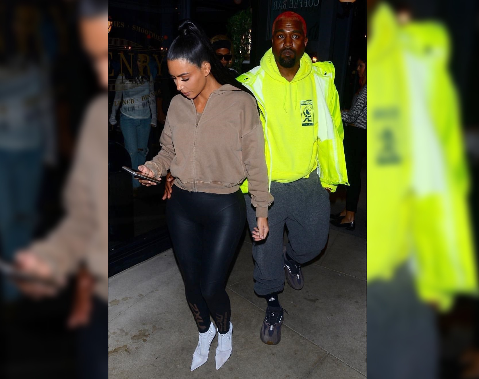 SPOTTED: Kanye West and Kim Kardashian Go for Contrasting Bold and Subtle Aesthetics