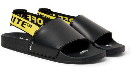 PAUSE or Skip: Off-White Printed Leather Slides
