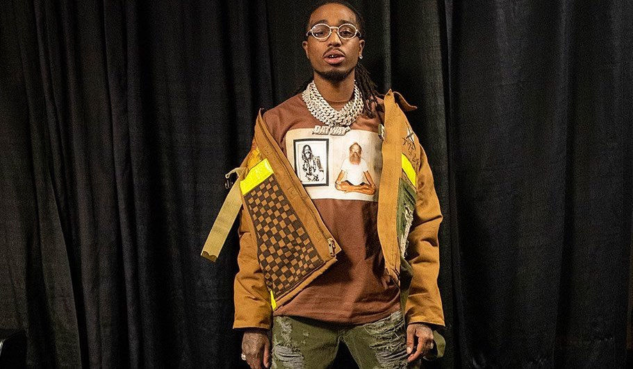 SPOTTED: Quavo In Work-wear Inspired Jacket, Distressed Jeans & Nike Dunks