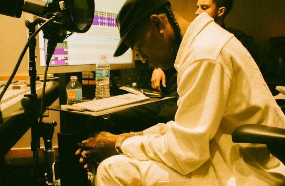 SPOTTED: Travis Scott Dons Dior x Jordan 1 In The Studio