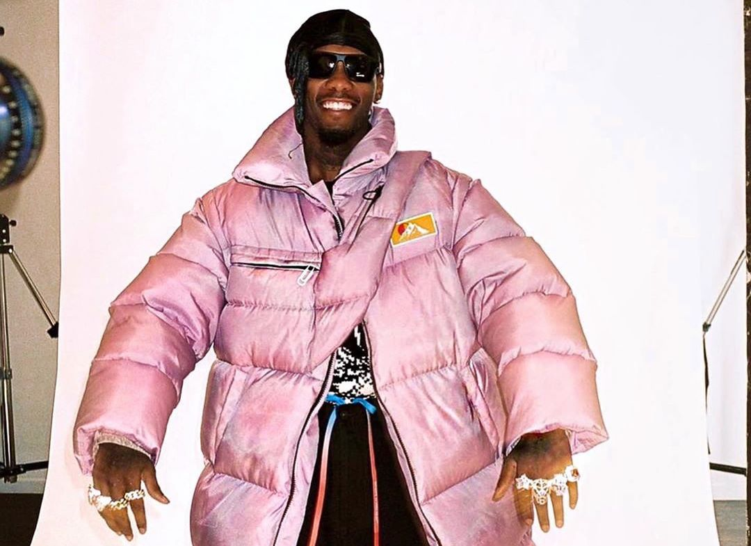 SPOTTED: Offset in OFF-WHITE's Purple Padded Puffer Coat
