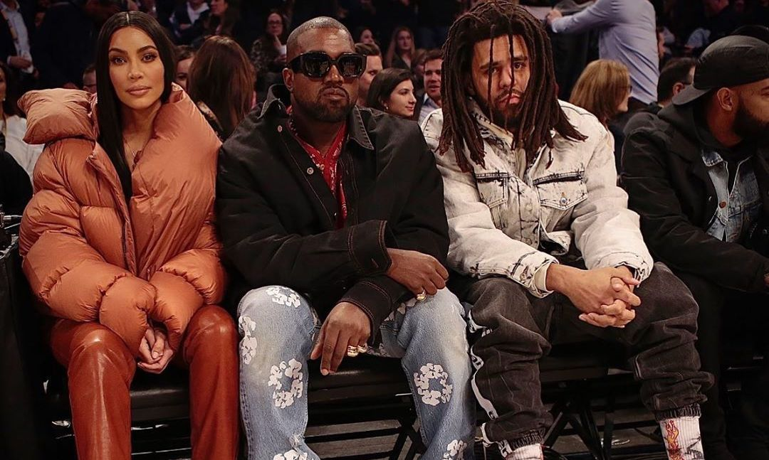 SPOTTED: Kanye, Kim and J.Cole Sit Front Row at the NBA All-Star Game