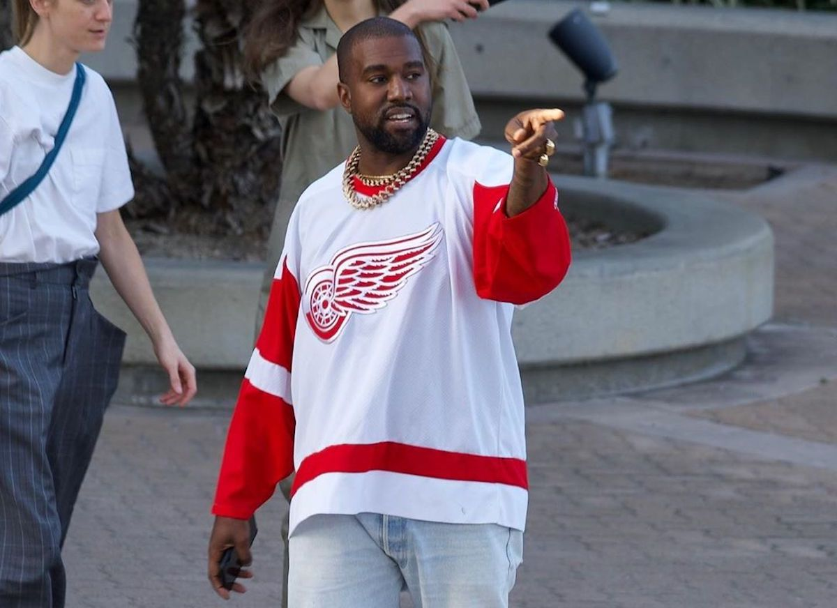 SPOTTED: Kanye West dons Levi's, Yeezy & Red Wings Jersey in Calabasas