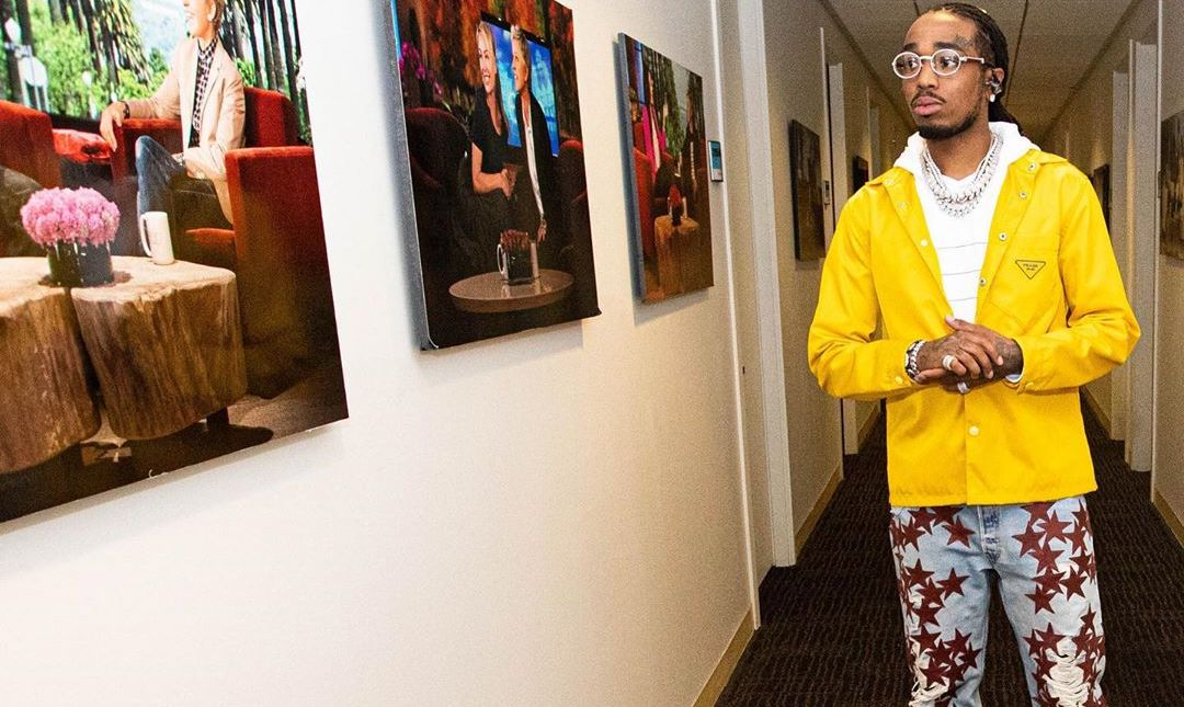 SPOTTED: Quavo Don Prada Jacket & Air Jordan 1's on Ellen
