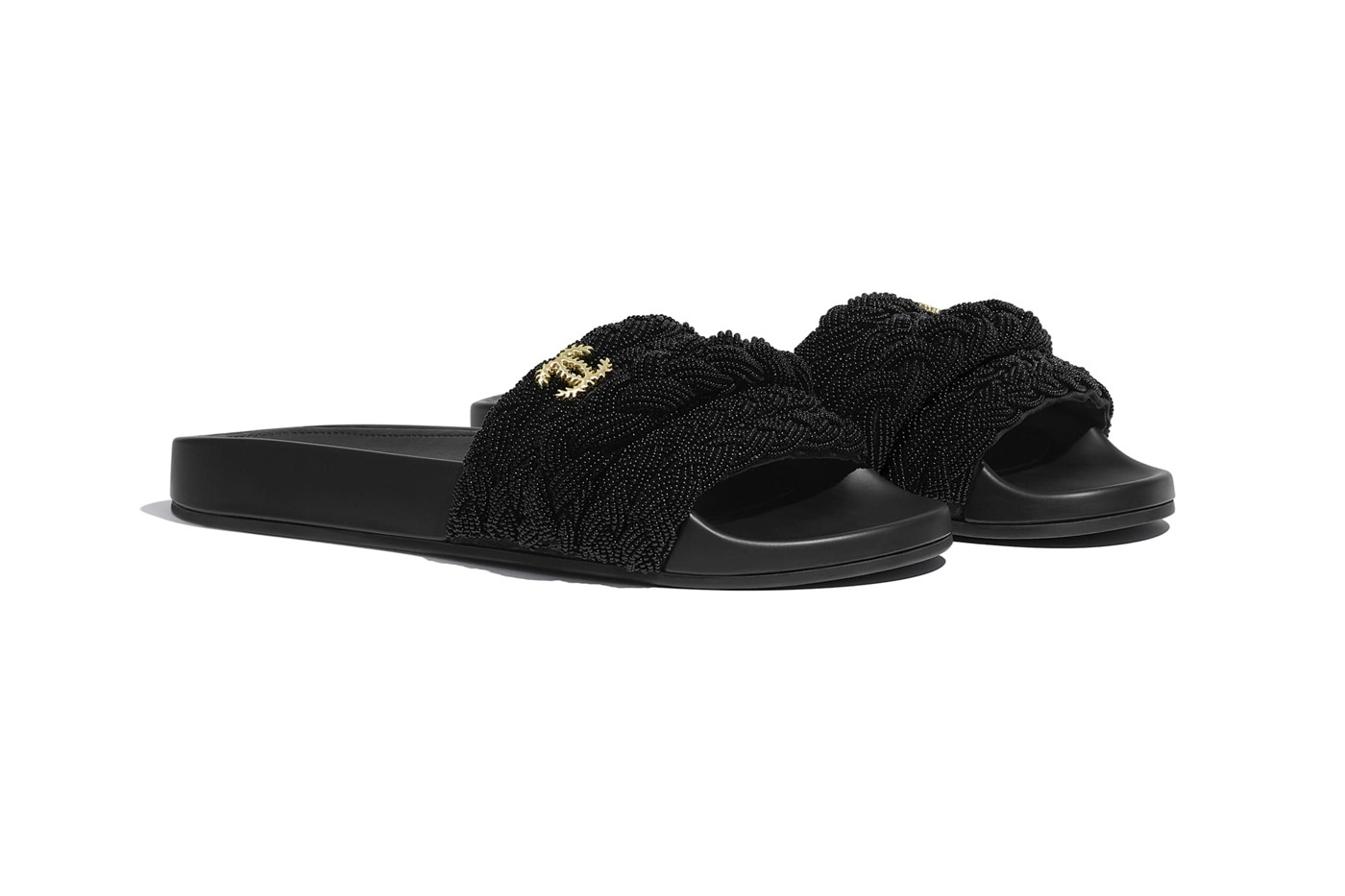 Chanel Blacked Out Luxurious Slides