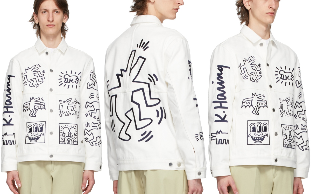 PAUSE or Skip: Études White Graphic Denim Jacket